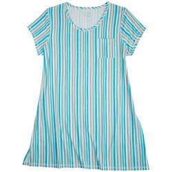 Plus Cool Stripes Print Sleeve T-Shirt Nightgown
