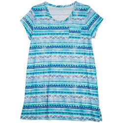 Plus Tribal Stripes Short Sleeve T-Shirt Nightgown
