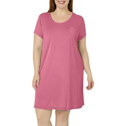 COOL GIRL Plus Solid Pocket Short Sleeve T-Shirt Nightgown