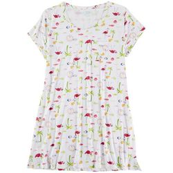 COOL GIRL Plus Flamingo Palm Pocket T-Shirt Nightgown