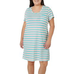 Plus Striped Pocket Short Sleeve T-Shirt Nightgown