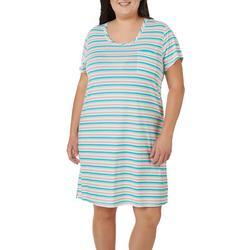 Plus Striped Pocket Short Sleeve T-Shirt Nightgown