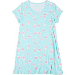 Plus Drink Print Pocket T-Shirt Nightgown