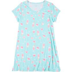 Plus Drink Print Pocket T-Shirt Nightgown