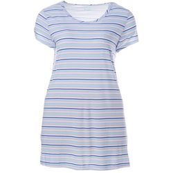Plus Stripe Print Pocket T-Shirt Nightgown