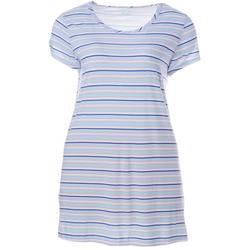 Plus Stripe Print Pocket T-Shirt Nightgown