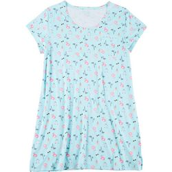 Plus Pool Print Sleeve T-Shirt Nightgown