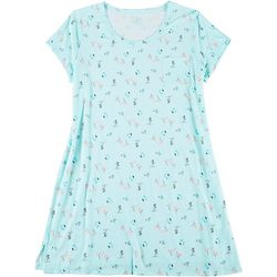 Plus Flamingo Print Pocket T-Shirt Nightgown