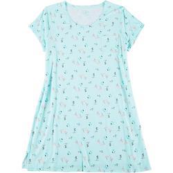 Plus Flamingo Print Pocket T-Shirt Nightgown