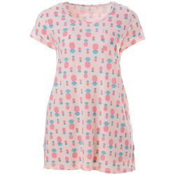 Plus Pineapple Print Pocket T-Shirt Nightgown