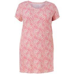Plus Leopard Print Pocket T-Shirt Nightgown