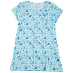 COOL GIRL Plus Palm Fronds Print Pocket T-Shirt Nightgown