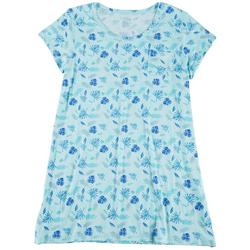 Plus Palm Fronds Print Pocket T-Shirt Nightgown