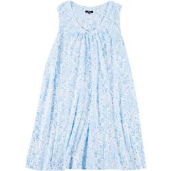 Aria Plus Dainty Paisley Print V-Neck Sleeveless Nightgown
