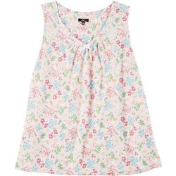 Plus Ditsy Floral V-Neck Sleeveless Nightgown