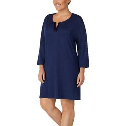 Ellen Tracy Plus Solid Sweater Knit Nightgown