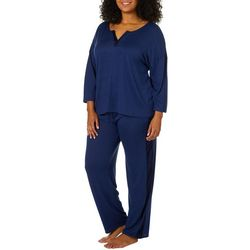 Ellen Tracy Plus Solid Sweater Knit Pajama Pants Set