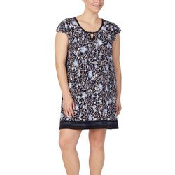 Ellen Tracy Plus Floral Keyhole Neck Nightgown