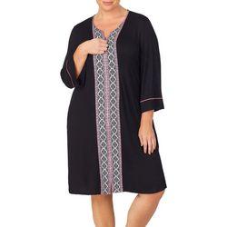 Ellen Tracy Womens Plus Boho Split Neck Nightgown