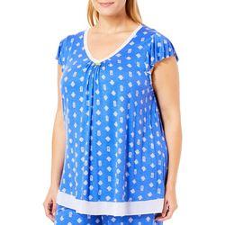 Ellen Tracy Plus Pineapple Print Pajama Top