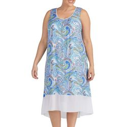 Ellen Tracy Plus Paisley Print Sleeveless Nightgown
