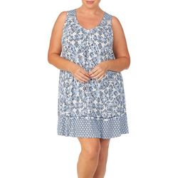 Ellen Tracy Plus Pattern Mixed Ruffle Chemise Nightgown