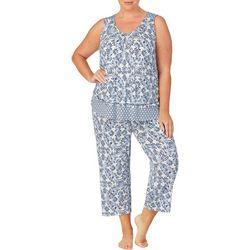Ellen Tracy Plus Patten Mixed  Print Pajama Capris Set