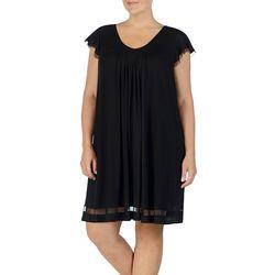 Plus Essentials Mesh Trim Nightgown