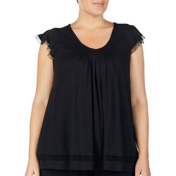 Ellen Tracy Plus Essentials Mesh Trim Pajama Top
