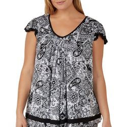 Ellen Tracy Plus Essentials Paisley Pajama Top
