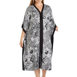 Ellen Tracy Plus Paisley Print Long Kaftan