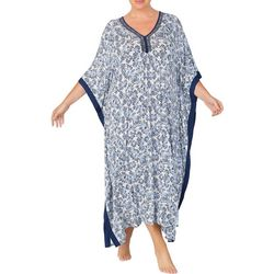 Ellen Tracy Plus Boho Long Kaftan V-Neck Nightgown
