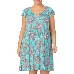 Ellen Tracy Plus Paisley Keyhole Flutter Sleeve Nightgown