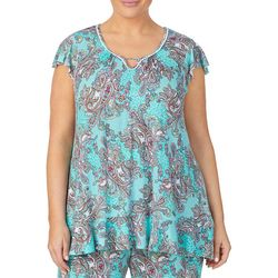 Ellen Tracy Plus Paisley Keyhole Pajama Top