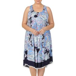 Ellen Tracy Plus Paisley Print Midi Nightgown