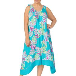 Ellen Tracy Plus Palm Print V-Neck Midi Nightgown
