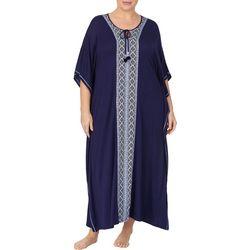 Ellen Tracy Plus Boho Long Kaftan Nightgown