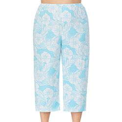 Ellen Tracy Plus Tropical Print Cropped Pajama Pants