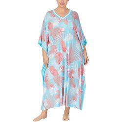 Plus Palm Print Long Kaftan Nightgown