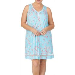 Ellen Tracy Plus Flamingo  Print Sleeveless Nightgown