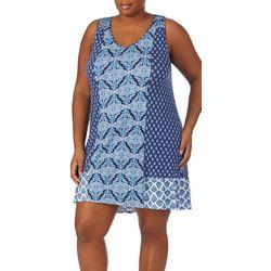 Ellen Tracy Plus Mixed Medallion Print Tunic Nightgown