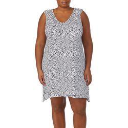 Ellen Tracy Plus Animal Ruffle Shoulder Chemise Nightgown
