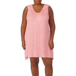 Ellen Tracy Plus Polka Dot Ruffle Shoulder Chemise Nightgown