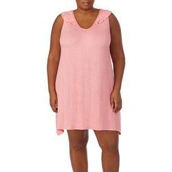 Plus Polka Dot Ruffle Shoulder Chemise Nightgown