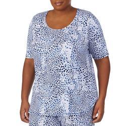 Plus Animal Print Half Sleeve Pajama Top