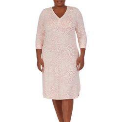 Ellen Tracy Plus Animal Print Tunic Nightgown