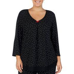 Ellen Tracy Plus Polka Dot Print Flutter Pajama Top