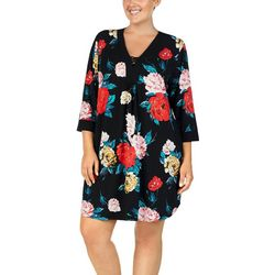 Ellen Tracy Plus Floral Print Tunic Nightgown