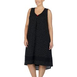 Ellen Tracy Plus Polka Dot Print Sleeveless Nightgown