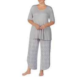 Ellen Tracy Plus Damask Print Pajama Capris Set